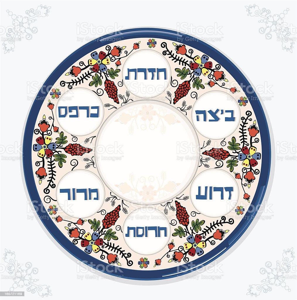 Passover Plate On Blue Napkin vector art illustration