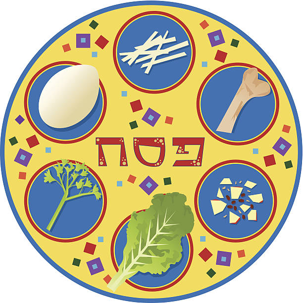 Passover Plate Passover plate and its symbols. Eps10 seder plate stock illustrations