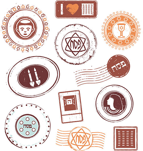 Passover Rubber Stamps Collection of grunge rubber stamps and seals on Passover theme. seder plate stock illustrations