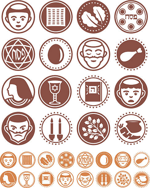 Passover - Seals Collection Positive and negative transparent passover icons and seals. seder plate stock illustrations