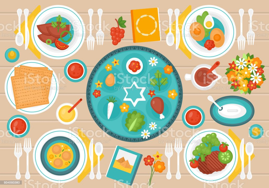 Passover Seder dinner table - Royalty-free Arranging stock vector