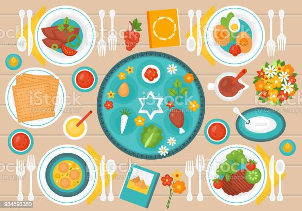 Passover Seder Dinner Table Stock Illustration - Download Image Now