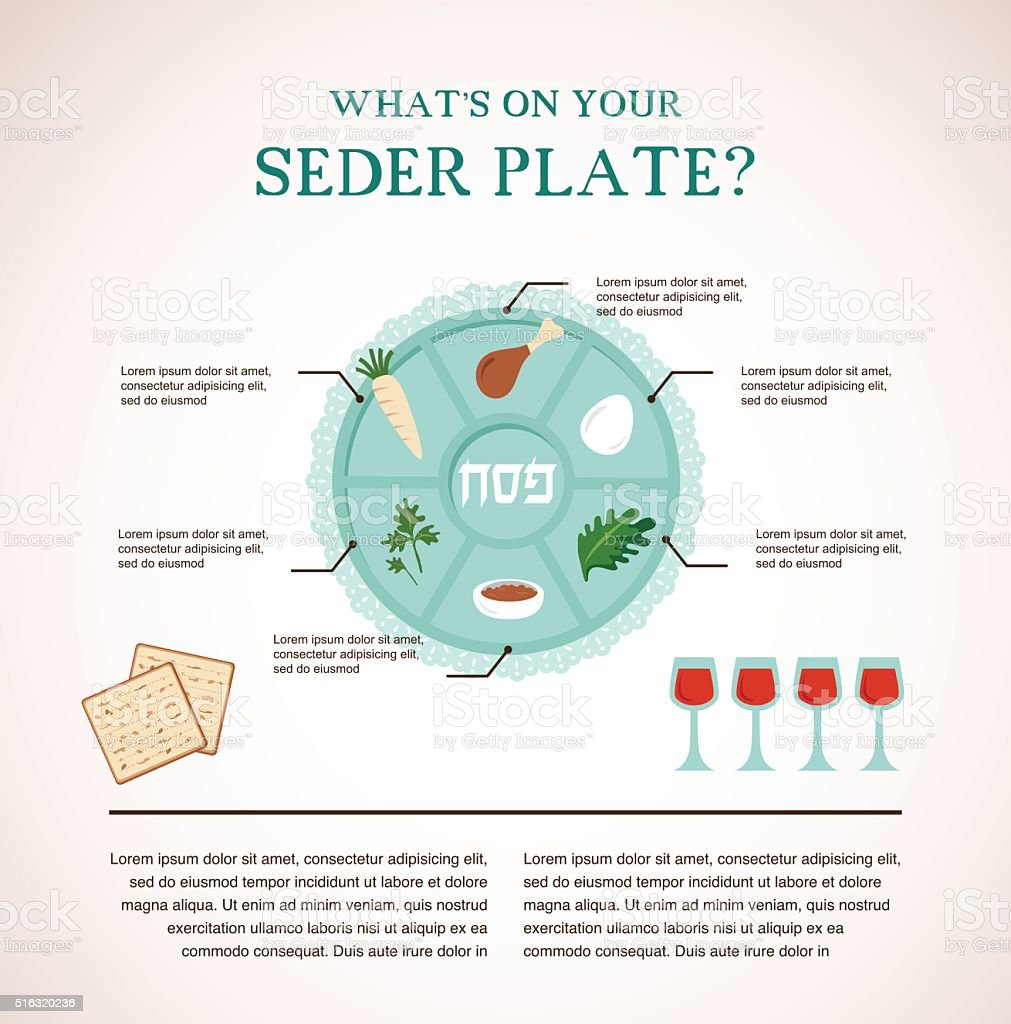 Passover seder flat icons vector art illustration