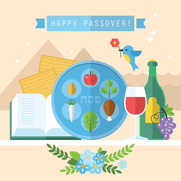 passover seder plate with flat icons - passover stock illustrations, clip art, cartoons, & icons