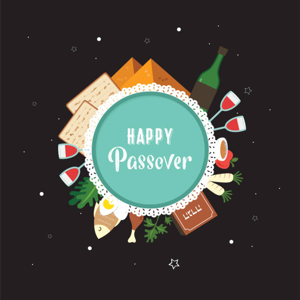 passover seder plate with flat traditional icons over night background. greeting card design template. vector illustration - passover stock illustrations, clip art, cartoons, & icons