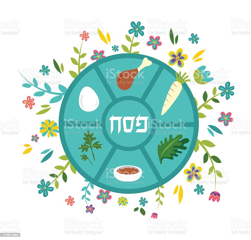 Passover seder plate with floral decoration, Passover in Hebrew vector art illustration