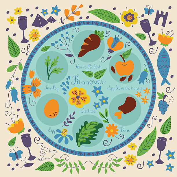 passover seder plate with floral decoration - passover stock illustrations, clip art, cartoons, & icons