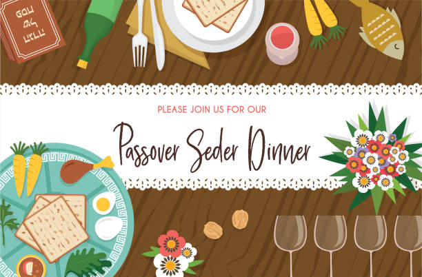 Passover Seder table with Seder plate and other elements-Vector Passover Seder table with Seder plate-Vector Illustration seder plate stock illustrations