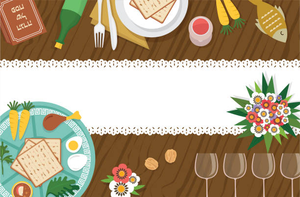 Passover Seder table with Seder plate and other elemnts-Vector Passover Seder table with Seder plate and other elemnts-Vector Illustration passover stock illustrations