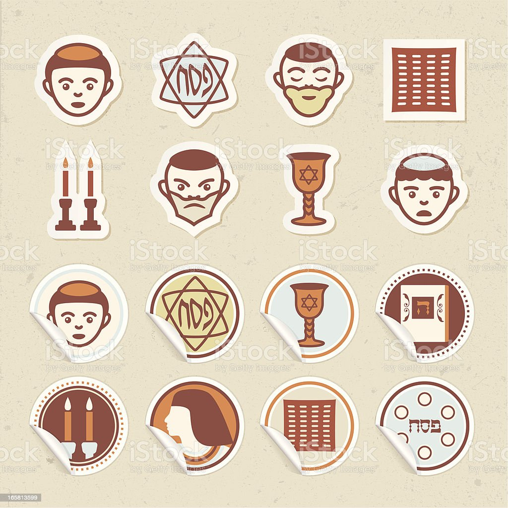 Passover Sticker Icons vector art illustration