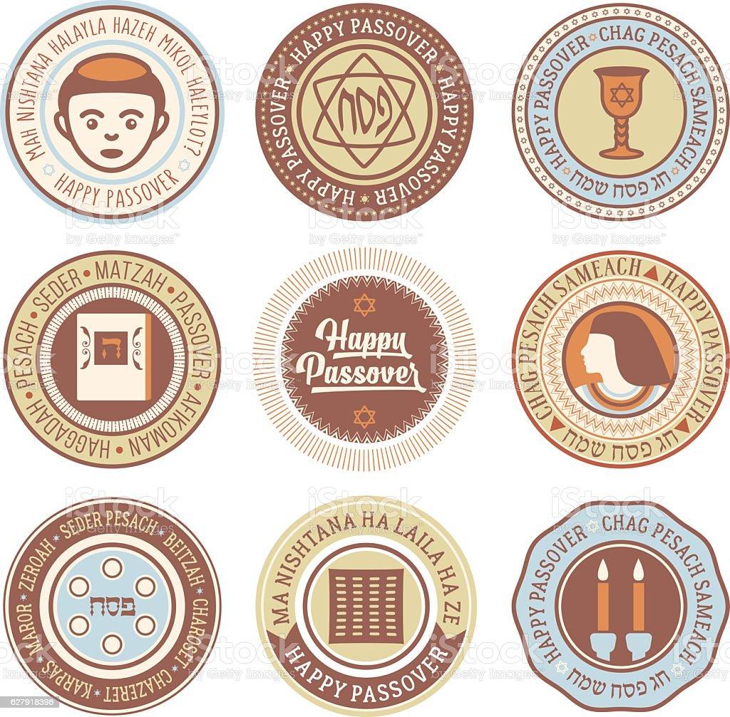 Passover Vector Circular Labels - ilustração de arte em vetor