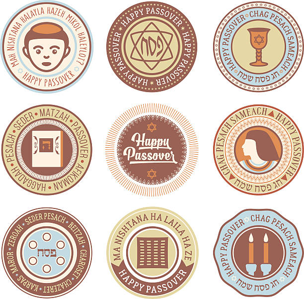 passover vector circular labels - passover stock illustrations, clip art, cartoons, & icons