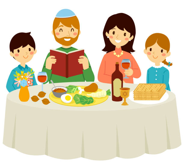 Passover with the core family vector art illustration