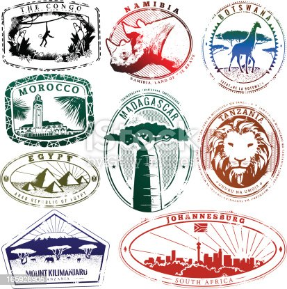 Series of stylized passport style stamp illustrations of various African countries. Great for a vintage LA look.