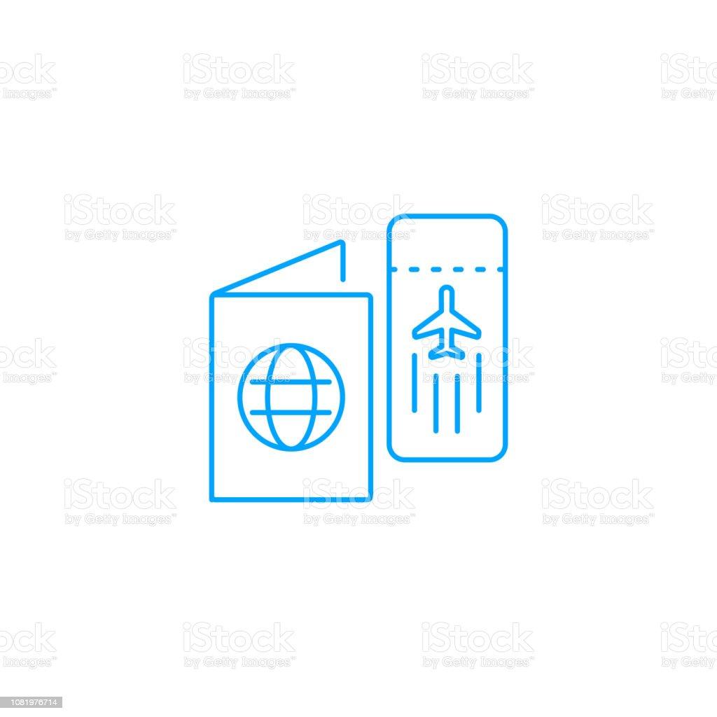 Pass och en luft biljett vektor symbol vektorkonstillustration