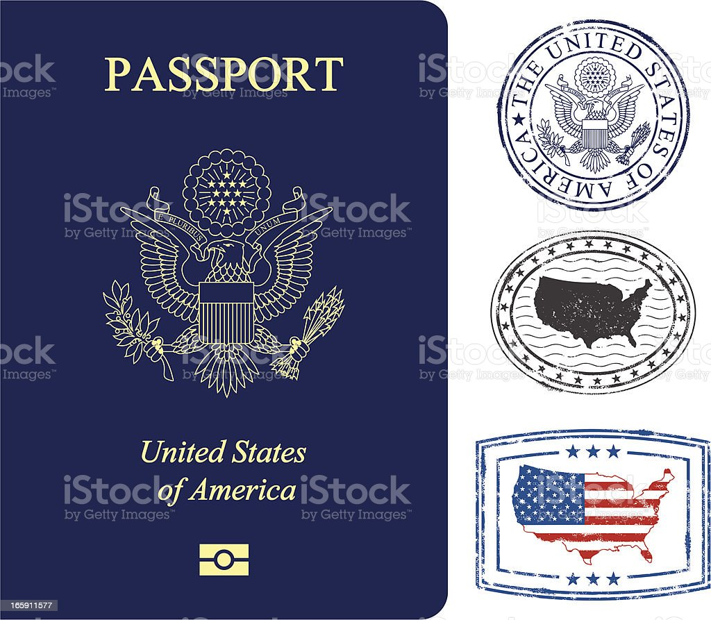 USA passport and stamps vector art illustration