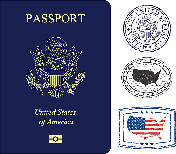stockillustraties, clipart, cartoons en iconen met usa passport and stamps - westers schrift