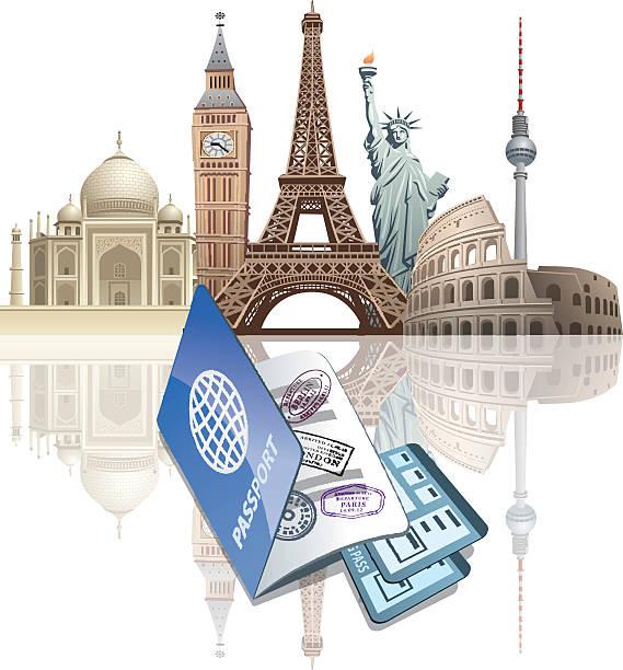 bildbanksillustrationer, clip art samt tecknat material och ikoner med passport and ticket - berlin street