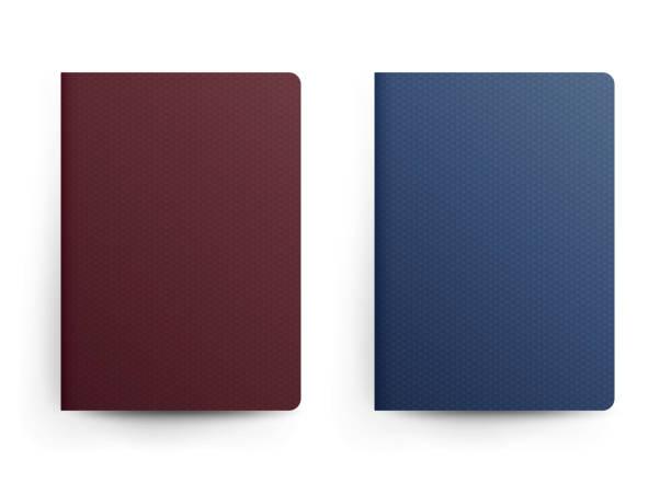 여권 빈 벡터입니다. 전면 덮개입니다. 현실적인 서식 그림입니다. 파란색과 빨간색 클래식 여권 국제 식별 문서입니다. 절연 - 가리기 stock illustrations