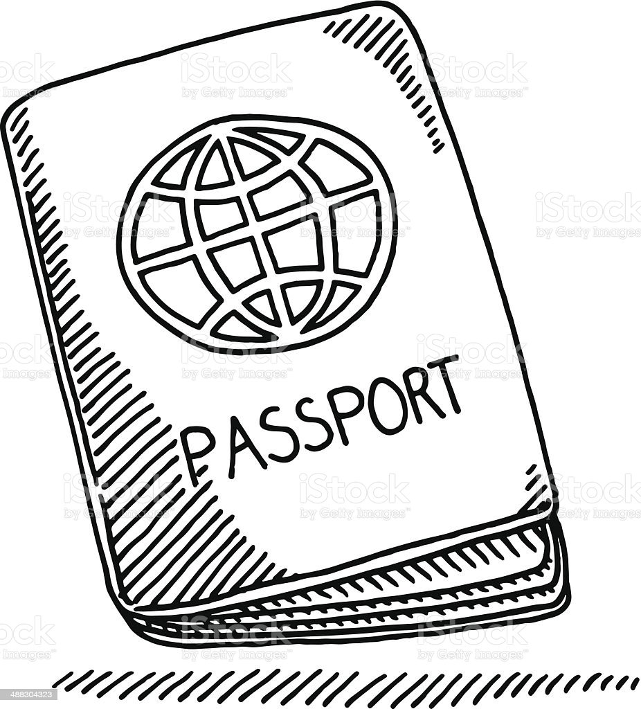 Passport Booklet Globe Drawing royalty-free stock vector art