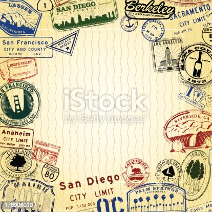 Series of Stylized California landmark and and city signs.