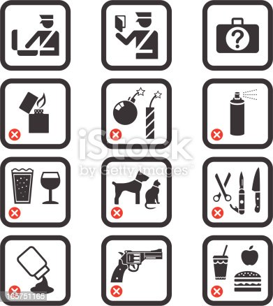 Collection of icons for Passport Control and Airport Security.