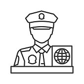 Passport control officer linear vector icon. Thin line