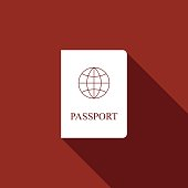 Passport flat icon with long shadow. Vector Illustration