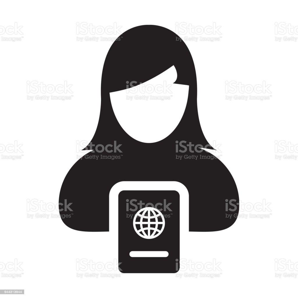 Reisepasssymbol Vektor Mit Weiblichen Person Profil Avatar Symbol ...