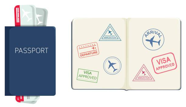 ilustraciones, imágenes clip art, dibujos animados e iconos de stock de pasaporte en fondo blanco - pasaporte y visa