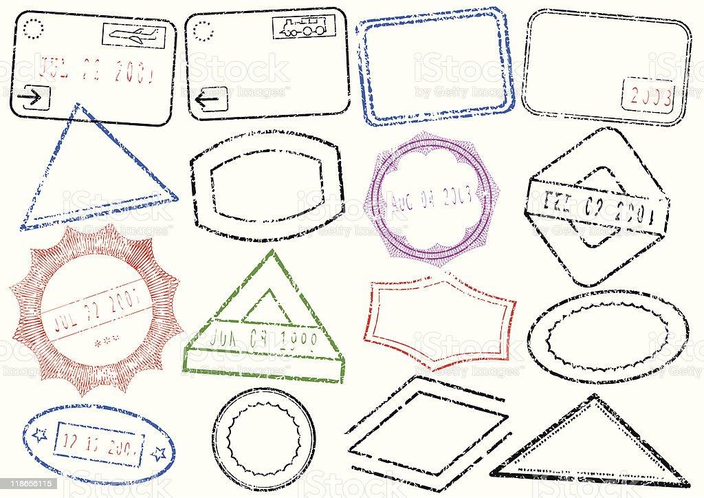Passport or post stamp vector illustration set royalty-free stock vector art