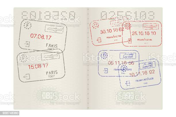 Passport pages with international stamps vector id938748380?b=1&k=6&m=938748380&s=612x612&h= hfhh5i dyq7fcp0qqyj66dsoeridq5smgzps8e1iiq=