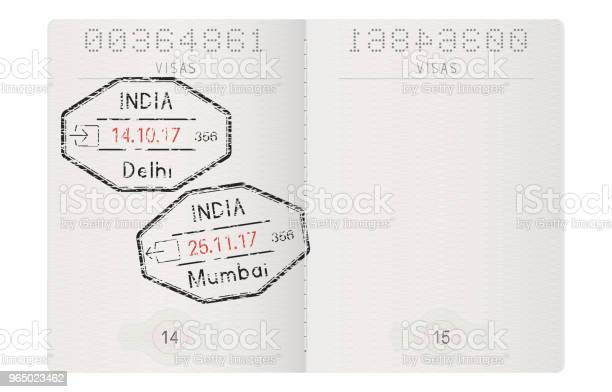 Passport pages with stamp of delhi and mumbai india vector id965023462?b=1&k=6&m=965023462&s=612x612&h=0kld1by6dcimkyfetadbipjrk mcovcwcuwxajor6cy=