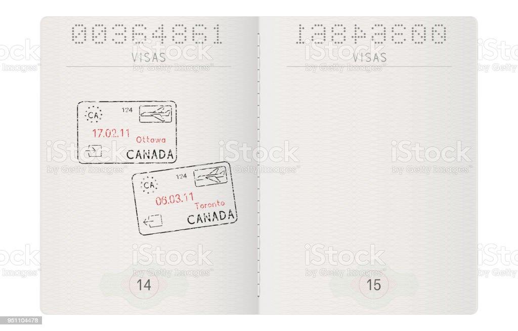 パスポートのページ。オタワ、トロント、カナダのスタンプ ベクターアートイラスト