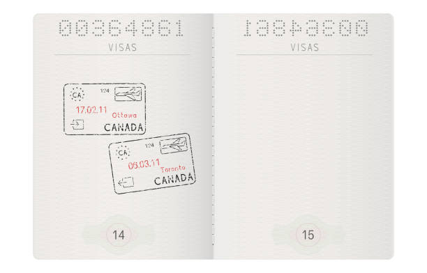 Passport pages. With stamp of Ottawa and Toronto, Canada vector art illustration