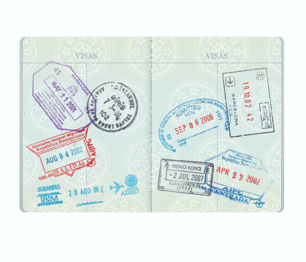 illustrations, cliparts, dessins animés et icônes de pages de timbres de passeport - passeport et visa
