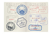 Passport pages with tourist international stamps