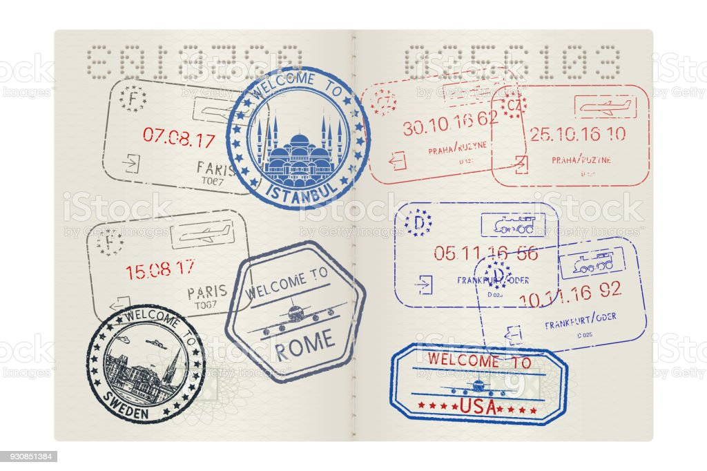 Passport pages with tourist international stamps vector art illustration