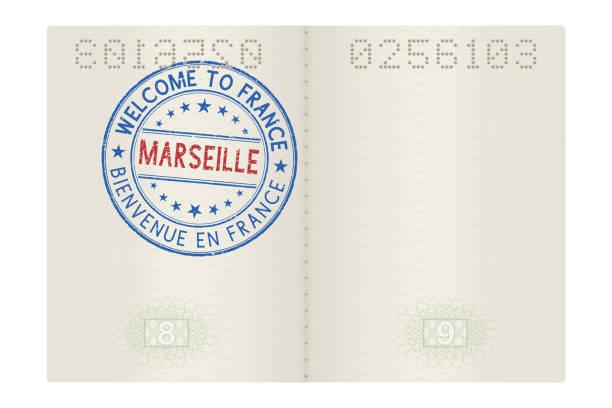 stockillustraties, clipart, cartoons en iconen met paspoort-pagina's met welkom aan frankrijk stempel. toeristische ronde ondertekenen marseille - marseille