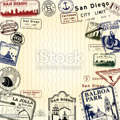 Stylized San Diego stamp series