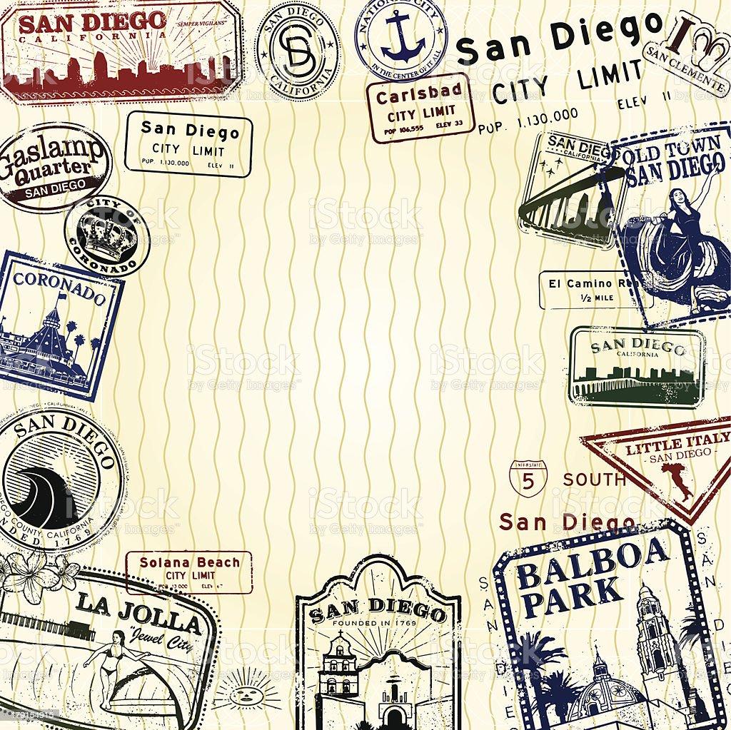 Passport San Diego vector art illustration