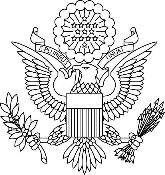US passport seal US passport seal on white background image. president stock illustrations