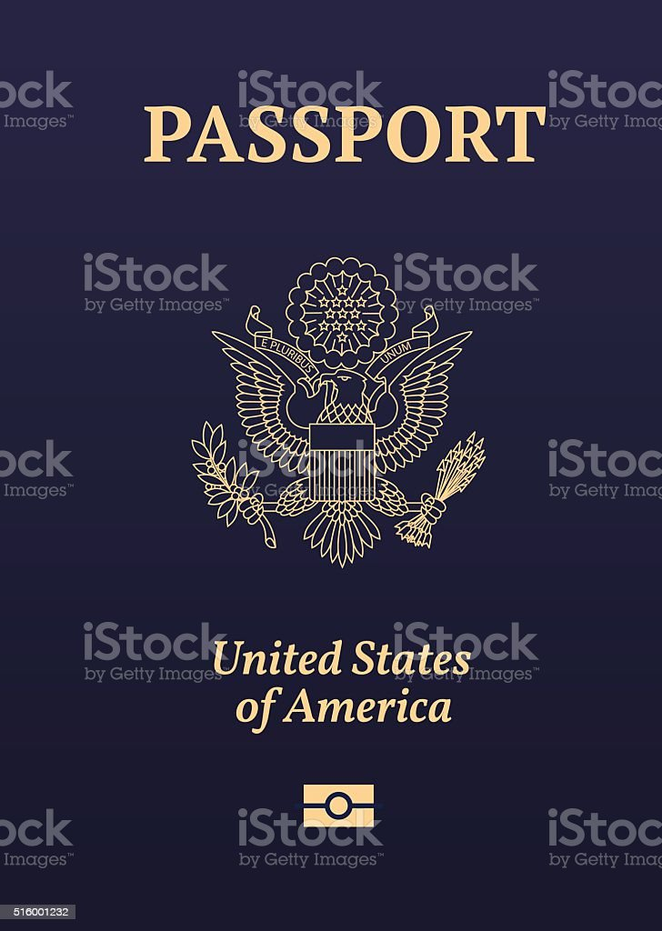 US passport seal vector art illustration