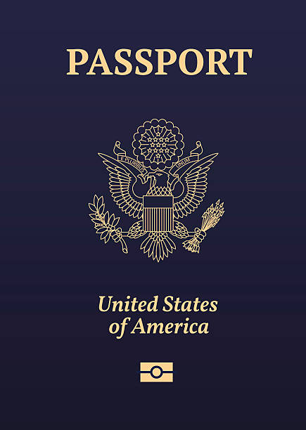 ilustraciones, imágenes clip art, dibujos animados e iconos de stock de sello de pasaporte estadounidense - pasaporte y visa
