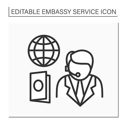 Passport service line icon