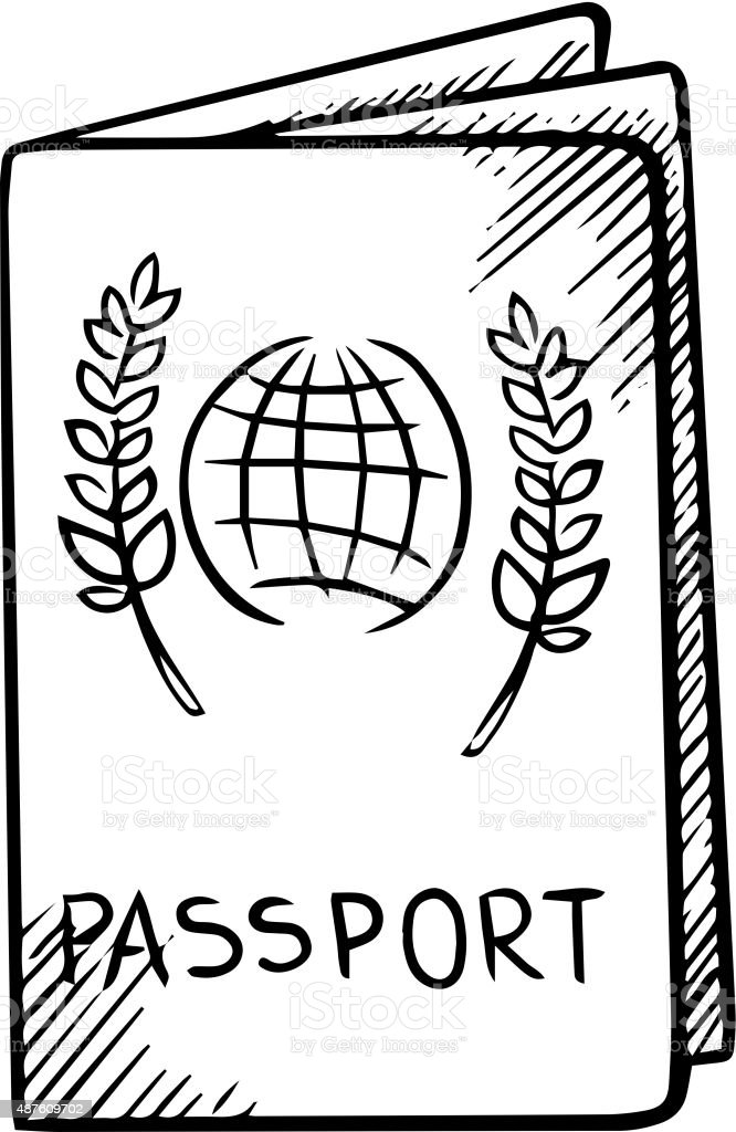 Passport Sketch With Globe On Cover Stock Vector Art ...