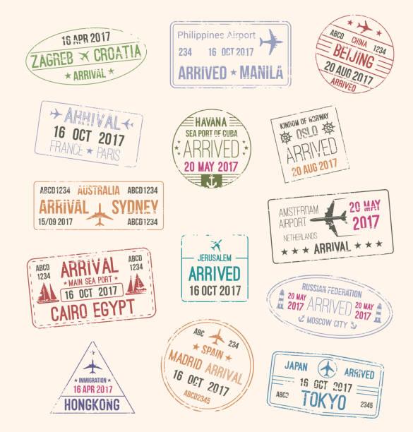 ilustrações, clipart, desenhos animados e ícones de carimbo de passaporte do visto de viagem para o projeto de turismo - passaporte e visto