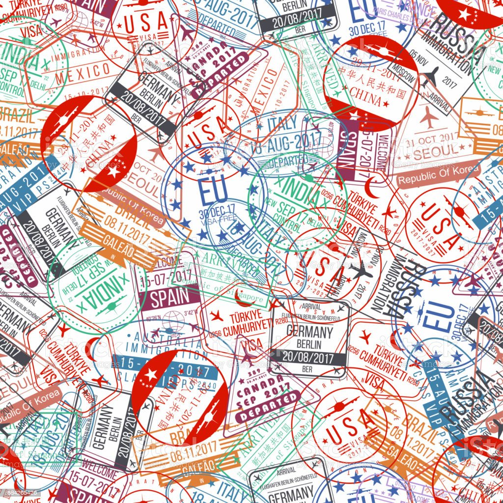 Pasaporte sello de patrones sin fisuras. Llegadas internacionales firman goma, visa Aeropuerto sellos y marcas de agua - ilustración de arte vectorial