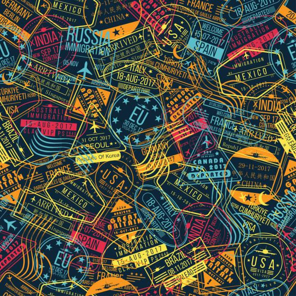 Passport stamp seamless pattern. Travel background concept. International arrivals signs, visa stamps Passport stamp seamless pattern. Travel background concept. International arrivals signs, visa stamps. Vector airport borders stock illustrations