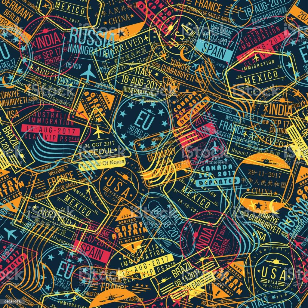 Pasaporte sello de patrones sin fisuras. Concepto de fondo de viajes. Signos de llegadas internacionales, sellos de visa - ilustración de arte vectorial